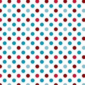 pois rouge bleu fond blanc