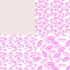 set feuillage d_oiseau rose fond blanc