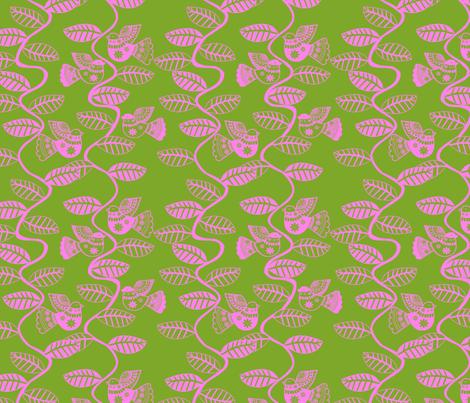 set feuillage d_oiseau rose fond vert fabric by nadja_petremand on Spoonflower - custom fabric