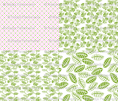 set feuillage d_oiseau vert fond blanc