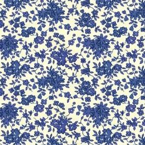 Tiny  Monochrome Floral - Blue
