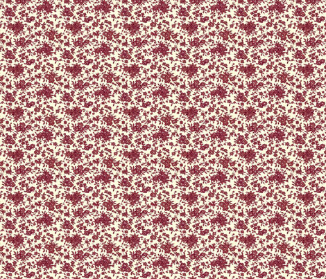 Tiny Monochrome Floral - Red fabric by engravogirl on Spoonflower - custom fabric