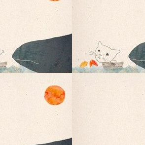 Cat, whale and fishes