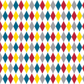Circus Diamonds (Multi) || geometric carnival diamonds harlequin baby nursery children primary colors