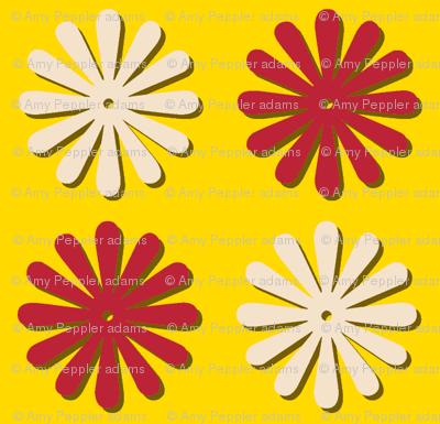 Circus Wheels (Yellow) || carnival fair starburst flowers polka dots children baby nursery