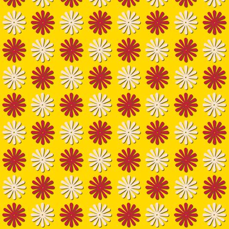 Circus Wheels (Yellow) || carnival fair starburst flowers polka dots children baby nursery fabric by pennycandy on Spoonflower - custom fabric