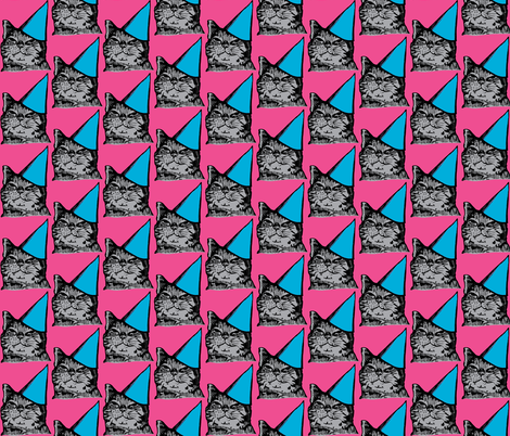 Party Cat, Pink/Blue/Gray-ch fabric by howtomakeart on Spoonflower - custom fabric