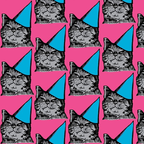 Party Cat, Pink/Blue/Gray-ch