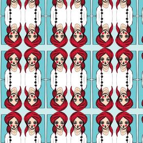 Diamond Girl, Red and Teal
