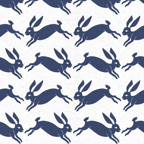 delft_rabbit_linen fabric by holli_zollinger on Spoonflower - custom fabric