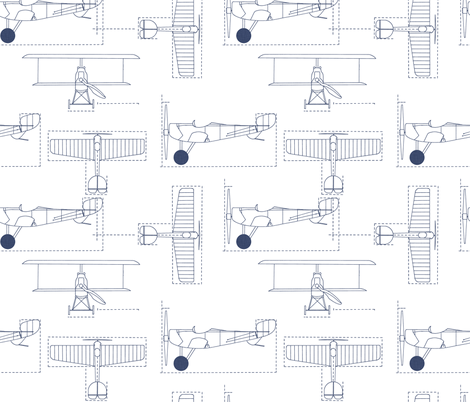 delft_flight_school_blueprint fabric by holli_zollinger on Spoonflower - custom fabric