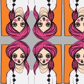 Diamond Girl, Pink/Orange/Gray
