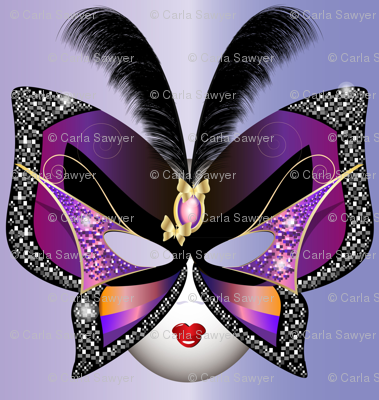 Butterfly Carnival Mask With Feathers