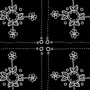 quilt square flower B&W