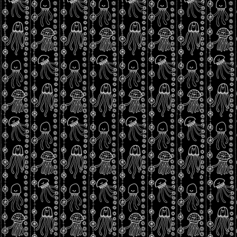 jellyfish stripes B&W fabric by susan_swedien on Spoonflower - custom fabric