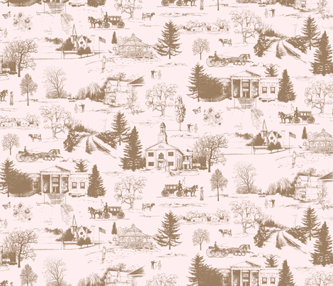 Le Roy, NY Toile fabric by jennartdesigns on Spoonflower - custom fabric