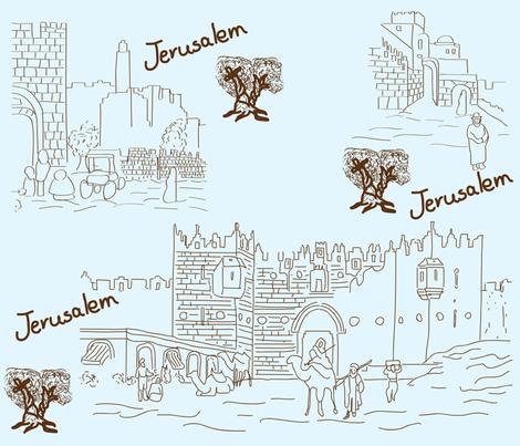 jerusalem toile de jouy fabric by tamnoona on Spoonflower - custom fabric