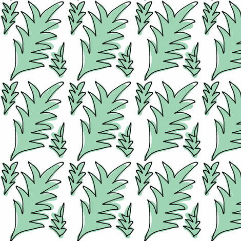 Spiky Leaves (green) fabric by pattyryboltdesigns on Spoonflower - custom fabric