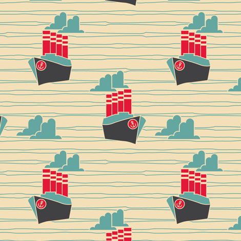 ART DECO - NOVELTY - BOAT fabric by sailormouth on Spoonflower - custom fabric