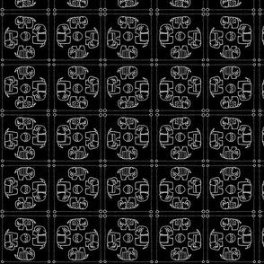 elephant quilt b&w