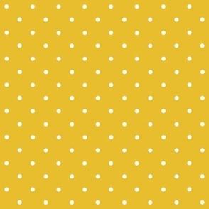 Mustard yellow mini polka dots