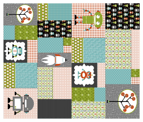 Robots Cheater Quilt Multi fabric by natitys on Spoonflower - custom fabric