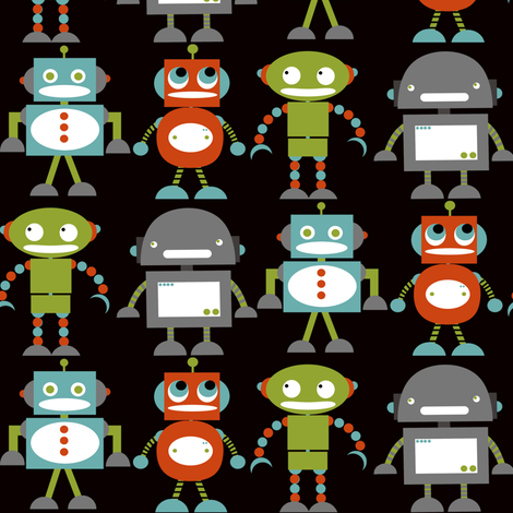 Robots Friends on Charcoal fabric by natitys on Spoonflower - custom fabric