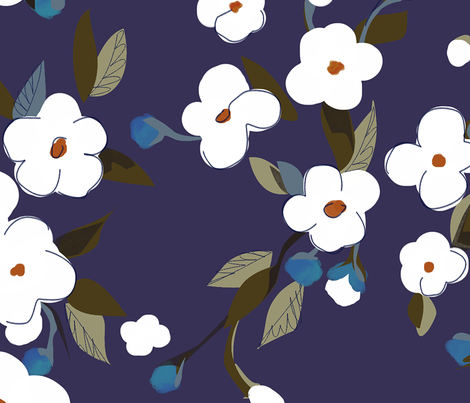 White Flowers - large fabric by glimmericks on Spoonflower - custom fabric