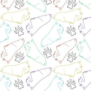 Scottie outlines in spring colors