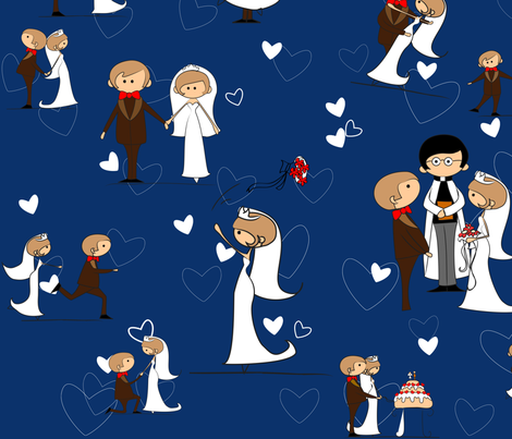 you may now kiss the bride blue fabric by kittenstitches on Spoonflower - custom fabric