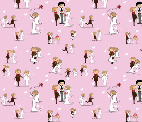 You may now kiss the bride, Sweet Lilac fabric by kittenstitches on Spoonflower - custom fabric