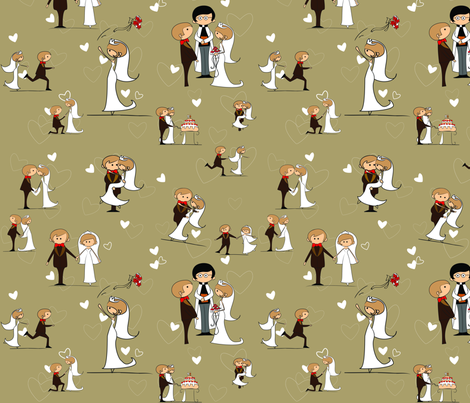 You may now kiss the bride, Starfish fabric by kittenstitches on Spoonflower - custom fabric