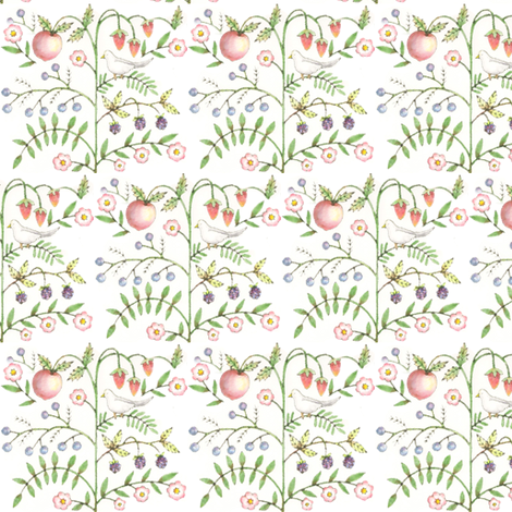 fruit and floral fabric by spoonflowercherie on Spoonflower - custom fabric
