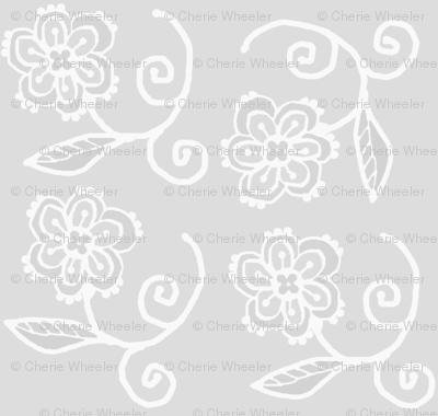 gray white floral