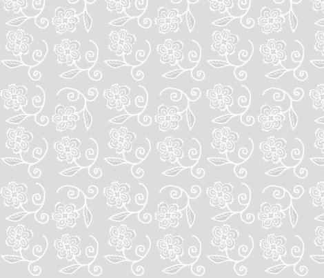gray white floral fabric by spoonflowercherie on Spoonflower - custom fabric