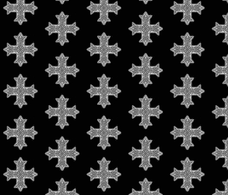 Coptic_Cross_Greyscale fabric by cairocraft on Spoonflower - custom fabric