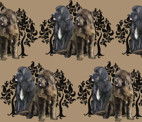 brown and black Newfoundland dog fabric fabric by dogdaze_ on Spoonflower - custom fabric