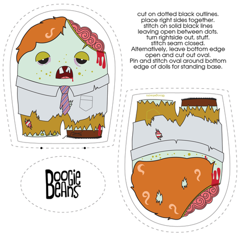 Zombie Plush with a tie fabric by kfay on Spoonflower - custom fabric
