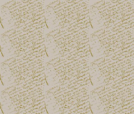 French Script, linen color fabric by karenharveycox on Spoonflower - custom fabric