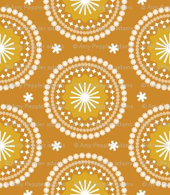 Bandana* (Gold Seal) || scarf handkerchief stars starburst circles flowers fireworks geometric sun sunshine summer mandala mustard