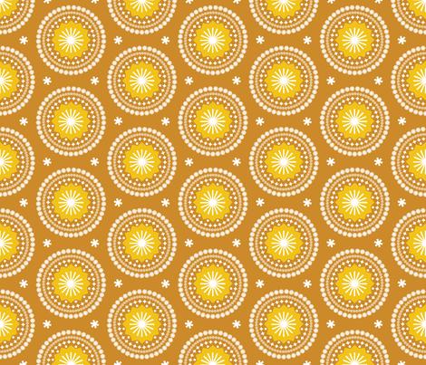 Bandana* (Gold Seal) || scarf handkerchief stars starburst circles flowers fireworks geometric sun sunshine summer mandala mustard fabric by pennycandy on Spoonflower - custom fabric