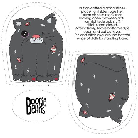 Zombie Cat Plush fabric by kfay on Spoonflower - custom fabric