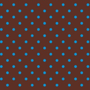 Blue  Polka Dots on Brown