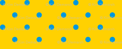 Blue polka dots on yellow