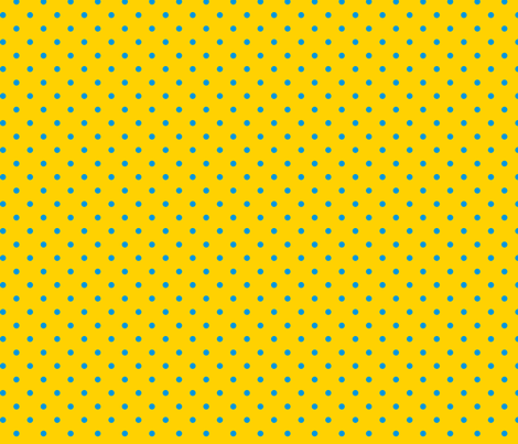 Blue polka dots on yellow fabric by stitchwerxdesigns on Spoonflower - custom fabric