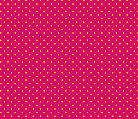 Yellow polka dots on pink fabric by stitchwerxdesigns on Spoonflower - custom fabric