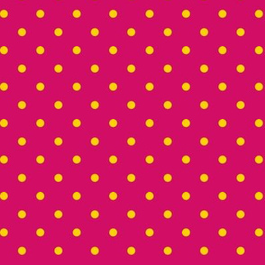 Yellow polka dots on pink