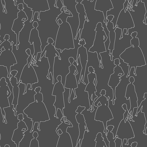 Dressmakers || dress pattern outlines model ladies fashion sewing fabric by pennycandy on Spoonflower - custom fabric