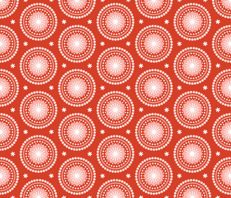Bandana* (Tomato Soup) || scarf handkerchief stars starburst circles flowers fireworks geometric western mandala fabric by pennycandy on Spoonflower - custom fabric