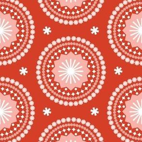 Bandana* (Tomato Soup) || scarf handkerchief stars starburst circles flowers fireworks geometric western mandala